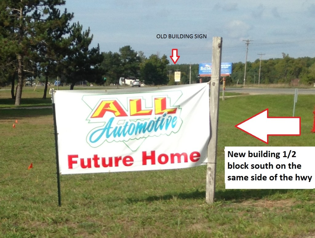new building sign south of old on m37 all automotive